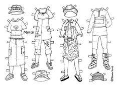 Karen`s Paper Dolls: Mette 1-3 Paper Doll to Colour. Mette 1-3 påklædningsdukke til at farvelægge.