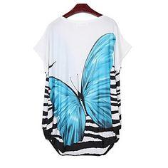 Blue Womens Summer Purple Butterfly Print Dress