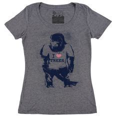 Cuipo I Heart Trees Tee - Premium Heather Gray - $28 | Every Product Saves Rainforest