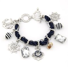 boat accessories | Sailor Fashion Anchor Boat Rudder Wheel Charm Bracelet Silver Color by ...