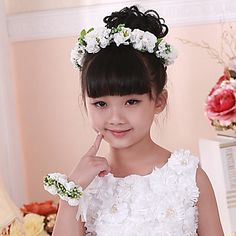 Flower Girl Paper/Basketwork Flowers With Wedding/Party Headpiece and Wrist – USD $ 14.99