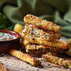 This healthy recipe for Baked Zucchini Sticks tastes so good - you won't believe they are not fries. Includes methods for air fryer and oven. Side Dish Recipes, Fish Recipes, Appetizer Recipes, Side Dishes, Vegetable Recipes, Appetizer Party, Healthy Appetizers, Vegetable Dishes
