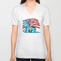 Liberty is in my control UNISEX V-NECK T-SHIRT @pointsalestore Society6 #vneck #tee #tshirt #clothing  #drawing #oil #coloredpencil #inkpen #popart #streetart #donald #trump #donaldtrump #humor #cute #parody #lol #unclesam #americaflag #liberty #statue #racism #haters
