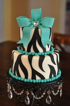 Turquoise & Zebra Party Cake by Designer Cakes By April, via Flickr