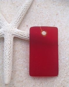 Sea glass beads-seaglass wide pendant-2 pc 32x19-red drilled seaglass bead-beach glass-frosted-bottle glass-sand glass-rectangle pendant-sea