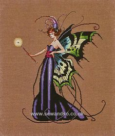 August's Peridot Fairy - cross stitch pattern by Mirabilia Designs - August's Peridot Fairy has luminous butterfly wings that radiate cool shades of aquamarine and grass green. Cross Stitch Fairy, Cross Stitch Kits, Cross Stitch Designs, Cross Stitch Embroidery, Cross Stitch Patterns, Cross Stitching, Mill Hill Beads, Butterfly Wings, Faeries