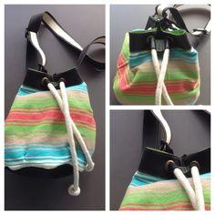Descripción: bolso mochila Color: azul, verde, salmón. Medidas: 40cm x35cm  Material: algodón y cuero sintético