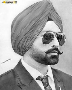 Only jassar sabh Portrait Sketches, Art Sketches, Art Drawings, Enfield Classic, Face Sketch, Turban Style, S Pic, Beard Styles, Cool Pictures