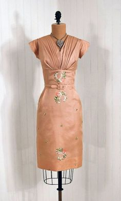 1950's Embroidered Silk-Organza  Cocktail Party Dress