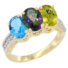 10K Yellow Gold Natural Swiss Blue Topaz, Mystic Topaz and Lemon Quartz Ring 3-Stone Oval 7x5 mm Diamond Accent, sizes 5 - 10 ** Trust me, this is great! Click the image. : Jewelry Ring Bands