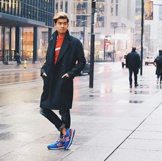 Topman Coat, New Balance Sneakers