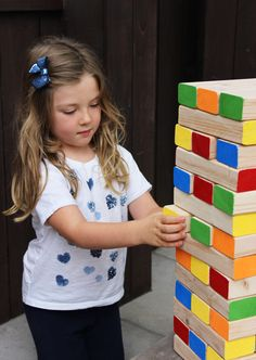 Diy jenga: the perfect kids father's day craft idea and summertime backyard game