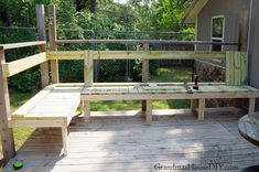 outdoor built in bench for our deck Corner Deck, Garden Storage Bench, Cedar Deck, Deck Posts, Outdoor Stools, Deck Decorating, Built In Bench, Yard Design, Outdoor Projects