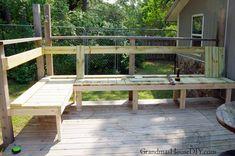 outdoor built in bench for our deck Corner Deck, Garden Storage Bench, Cedar Deck, Deck Posts, Outdoor Stools, Built In Furniture, Outdoor Furniture, Deck Decorating, Built In Bench