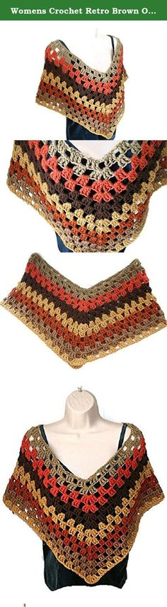 "Womens Crochet Retro Brown Orange Hippie Autumn Poncho Cape Capelet Shawl. This beautiful womens crochet poncho is both versatile and pretty. Imagine yourself wearing this ladies autumn fashion wrap with jeans and a sweater. The colors of this wrap are taupe, coral, brown, sungold, and burnt pumpkin . From shoulder to tip, it measures 21"" long and from V in neckline to tip it measures 15"" long. Made out of 100% acrylic yarn. This particular poncho is a womens XL. Let me know if you would..."