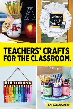 Teachers, keep that creative flair going all year long with these fun crafts that'll brighten up any classroom. Visit Teacher Central to learn how to make these DG Crafts and more! #ClassroomDecor #DIYNamePlate #BacktoSchoolCrafts #CraftsforTeachers #Decor #Crafts #DIYDecor Teacher Supplies, Classroom Supplies, Classroom Crafts, Office And School Supplies, Back To School Crafts, Back To School Teacher, Back To School Shopping, Clean Classroom, Classroom Welcome