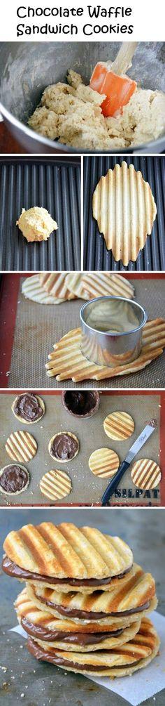 Chocolate Waffle Sandwich Cookies