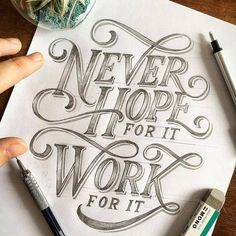 Hand lettering inspiration on a daily basis! Calligraphy and hand lettering for beginners we provide inspirational and educational content on the art of typography! Visit our website to find out more :) Brush Lettering Quotes, Hand Lettering Quotes, Typography Quotes, Typography Inspiration, Typography Letters, Typography Poster, Lettering Design, Poster Quotes, Lettering Ideas