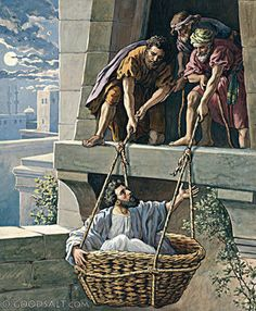 Paul let down in a basket Acts 2 Cor Bible Photos, Bible Pictures, Christian Artwork, Christian Pictures, Jesus Baptised, Acts 9, Paul The Apostle, Saint Esprit, Bible Illustrations