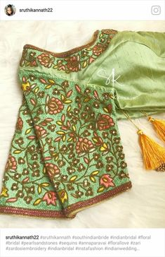 Beautiful green color designer blouse with floral design hand embroidery thread work on yoke. Wedding Saree Blouse Designs, Pattu Saree Blouse Designs, Blouse Designs Silk, Designer Blouse Patterns, Kids Blouse Designs, Hand Work Blouse Design, Stylish Blouse Design, Diana, Embroidery Fashion