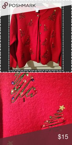 NEW XMAS CARDIGAN / extra large New red cardigan detailed with sequins on xmas trees throughout.  Very warm. Beautiful Deane & white Sweaters Cardigans