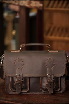 Leather Rugged Briefcase - Full Front