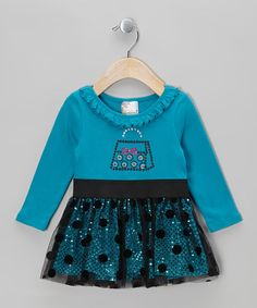 Take a look at this Blue Purse Polka Dot Mesh Dress - Infant, Toddler & Girls by Samara on #zulily today!