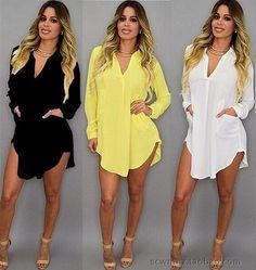 Women Casual Long Sleeve V-Neck Oversize Loose Chiffon T-Shirt Top Blouse  Dress d2329b46b764