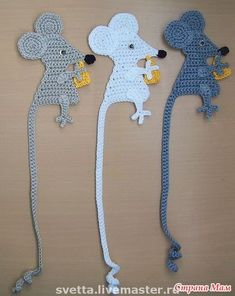 crochet mouse tail bookmarks