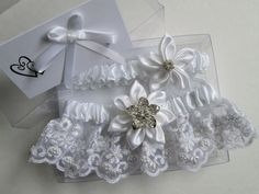 White Wedding Garter Set Retro Vintage by GibsonGirlGarters, $55.00