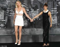 Pals: She was later joined by co-star Sofia Boutella, who looked glamorous in a sparkling black gown with a quirky white collar, teamed with stilettos Charlize Theron Style, Atomic Blonde, Bright Stars, Celebs, Celebrities, Woman Crush, Celebrity Pictures, Sexy Body, Cute Outfits