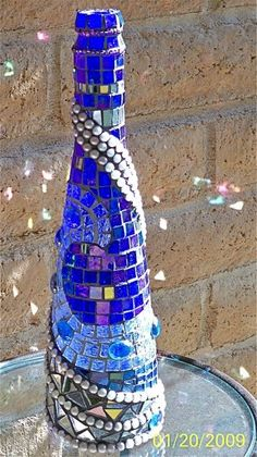 Glass Art Handcrafted Mosaic Style Decorative Bottle by glassmagic