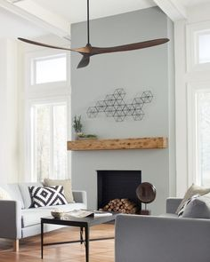 The Maverick Super Max Collection: With a sleek modern silhouette, a DC motor and super energy-efficiency, the Maverick Super Max ceiling fan from Monte Carlo features softly rounded blades and elegantly simple housing. Maverick Super Max has an impressiv Decorative Ceiling Fans, Large Ceiling Fans, Black Ceiling Fan, Ceiling Fan With Remote, Outdoor Ceiling Fans, Modern Ceiling Fans, Living Room Fans, Living Room Ceiling Fan, Living Area