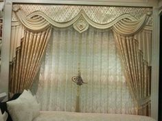 Wow Big Window Curtains, Curtains For Arched Windows, Swag Curtains, Curtains And Draperies, Modern Curtains, Valances, Valance Window Treatments, Window Coverings, Bed Crown Canopy