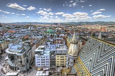 View from the top of Saint Stephen's Cathedral (Stephandom, Cathedral of Vienna) in Vienna, Austria. If I am not mistaken, the top of the tower from where this picture was taken is the highest point in Vienna. Budapest, Places To Travel, Places To See, Spanish Riding School, Vienna State Opera, Heart Of Europe, Austria Travel, European Tour, Vienna Austria