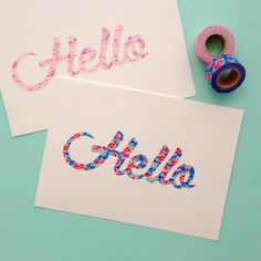 DIY Washi Tape Script Cards
