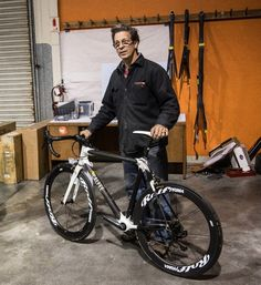 Craig Calfee with the Manta Pro road bike
