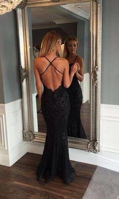 fashion Prom Dress,Sexy Black Prom Dresses,Mermaid Prom Dress,Lace Prom Dress,Backless Evening Gowns
