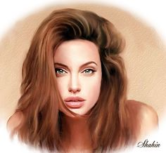 Shahin Gholizadeh   Iranian Digital pastel painter   Angelina Jolie