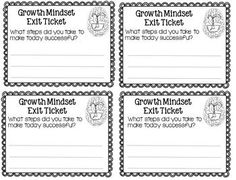 Growth Mindset Exit Tickets - Student Reflection