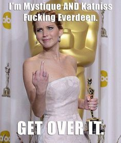 funny captions -jennifer lawrence giving finger to the press
