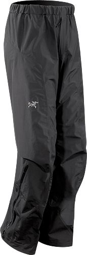 Alpha SL Pant / Men's / Arc'teryx. Waterproof backpacking pants. Lightweight, very packable (stuff in small outside pocket of pack), and rugged.