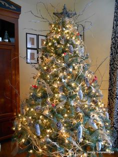 Simply Simplisticated: Naturally decorated Christmas Tree- I'm not sure but I think that's raffia used as a garland. Inexpensive and beautiful.