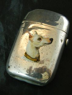 1880 HALLMARKED SILVER ENAMEL DOG VESTA CASE/MATCH SAFE | eBay