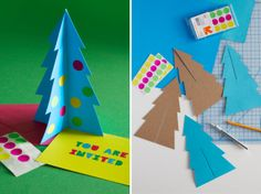 These clever 3D Christmas tree invitations also function as fun holiday décor. Here's how to make them.
