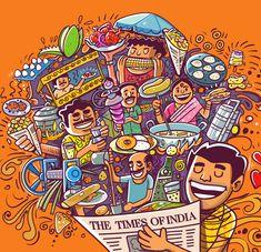 Mumbai Street Food, Indian Street Food, Smoking Campaigns, Food Doodles, Food Illustrations, Chennai, Doodle Art, Cute Art, Character Art