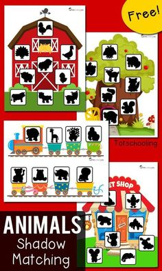 Animal Shadow Matching Activity for Toddlers FREE shadow matching printables for toddlers and preschoolers featuring animal themes: farm, zoo train, pet shop, forest/woodland animals. Fun way to practice visual discrimination and increase vocabulary. Toddler Learning Activities, Preschool Learning Activities, Animal Activities, Free Preschool, Preschool Printables, Preschool Classroom, Toddler Preschool, In Kindergarten, Animal Themes