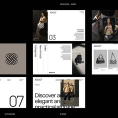 """Alphamark — Branding Studio on Instagram: """"From the archives — Some of the explorations we did for AGGO, a fashion and leather goods brand founded in 2017 by a Brazilian leather…"""" Corporate Identity Design, Brand Identity Design, Graphic Design Branding, Ui Design, Packaging Design, Website Design Inspiration, Web Design Inspiration, Design Ideas, Fashion Web Design"""