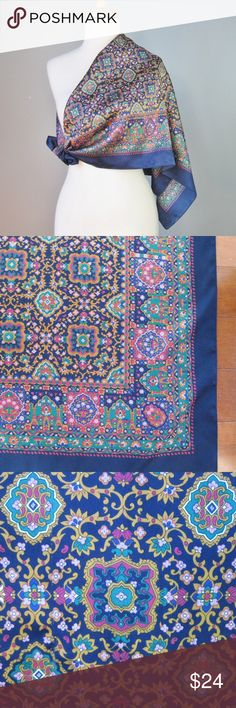 """Vintage Silk Scarf Jewel Tones Mosaic design Jewel tone colors, delicate floral design, reminiscent of both persian mosaic deisgns and renaissance embroidery  Very good to excellent condition. Aprox. 34"""" square  Thanks for looking! #25331 Vintage Accessories Scarves & Wraps"""