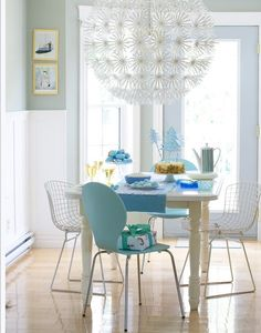 : Enchanting Contemporary Dining Room Design With Square Shaped Dining Table Made From Wood And Dandylion Flower Shaped Pendant Light